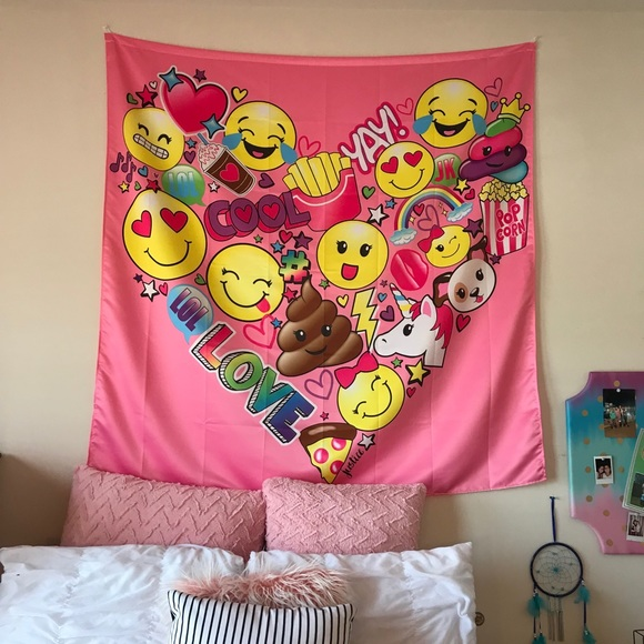 Surprising Girls Room Decoration Justice Emoji Wall Tapestry Download Free Architecture Designs Rallybritishbridgeorg